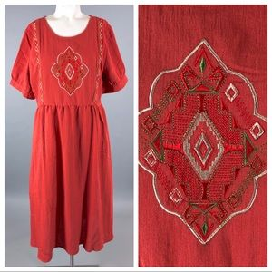 Orange creek boho embroidered dress